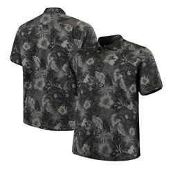 Nwt Tommy Bahama Fuego Floral Black Gray Big And Tall Silk Button Shirt Men's 5xl