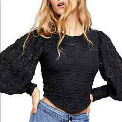 Nwt Free People Tea Time Lace Top Black Xl
