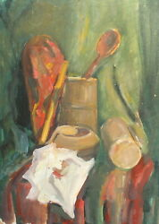 Vintage Impressionist Oil Painting Still Life With Mugs, Bowl And Laddle