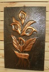 Vintage Hand Made Wall Hanging Copper Plaque Modernist Still Life With Flower