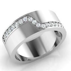 0.31 Ct Natural Diamond Solid 14k White Gold Menand039s Anniversary Band Size O P Q R