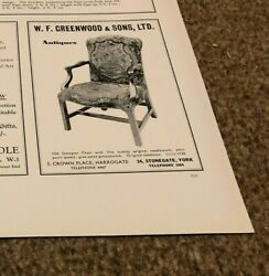 Ant4 Antiques Advert 5x4 W F Greenwood And Sons Ltd - Old Georgian Chair 1730