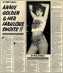 15/7/78pn24 Article And Picture Annie Golden And Her Fabulous Shoits..