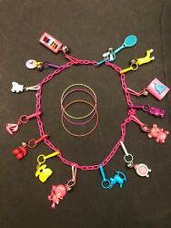 Vintage 1980s Bell Clip Rare Plastic Charm Necklaces 14 Toy Charms