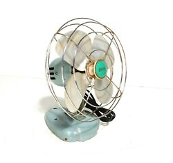 Zero Vintage Electric Wall Table Fan Mcm Retro Blue 50s 60s Tested And Works Great