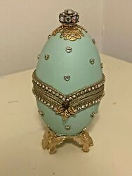 Russian Faberge Inspired Egg Shaped Vintage Decorative Collectible Jewelry Box
