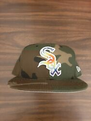 Chicago White Sox Camo Fitted Hat Size 7 3/4 New Era Tie Die Chiraq Made In Usa