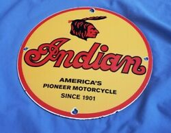 Vintage Indian Motorcycle Porcelain Service Gas Motor Bike American Chief Sign