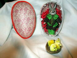 Antique Easter Rabbit Miniature Doll With Easter Egg Candy Container