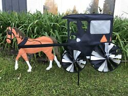 """Garden Spinners By Premier Designs - 35"""" Horse And Buggy Yard Garden Spinner"""