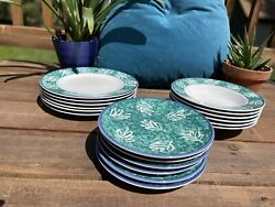 Mikasa Intaglio Leaf Song - Full Set Of 6 Dinner Plates, Salad Plates, And Bowls