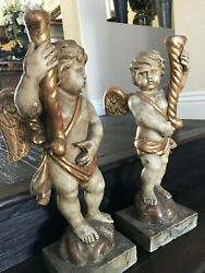 Rare Antique Late 18th Century French Hand Carved Pair Angels Wood Statues