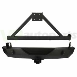 Heavy Duty Steel Rear Step Bumper With Tire Carrier For 07-18 Jeep Wrangler