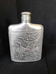 Vintage Silver Plated Flask With Ducks Wildlife Scene By Godinger. Pre-owned