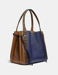 COACH Harmony Hobo In Colorblock With Snakeskin Detail Pewter Cadet Multi NWOT $450.00