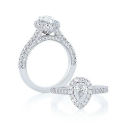 Solide 950 Platine Poire Coupe 1.20 Carat Real Diamond Engagement Ring Taille M