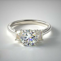Solide 14k Or Blanc Rond Coupe 1.00 Ct Real Diamond Engagement Ring Taille L M P