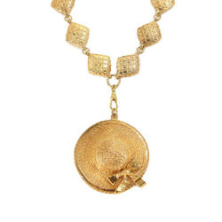 Straw Hat Motif Necklace Gold Accessory Vintage 90126346