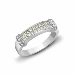 18ct White Gold Diamond Dual Row Collared Eternity Ring 4mm