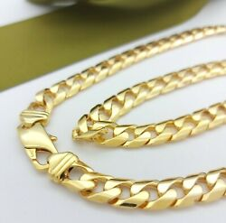 Unisex Necklace 9ct 375, 9k Yellow Gold Solid Cuban Curb Chain Necklace