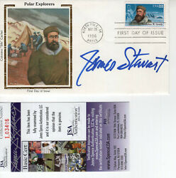 James Stewart Hand Signed Polar Explorers Color Silk Fdc 1986   Awesome  Jsa