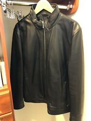 Jos A Bank 1905 Collection Tailored Fit Leather Bomber Jacket Size M