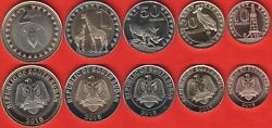 South Sudan Animals 10-20-50 Piastres, 1 And 2 Pounds 2015, Set Of 5 Coins