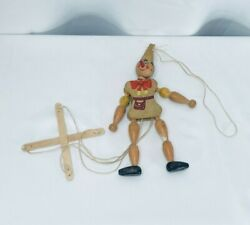 Vintage Hand Painted Marionette String Puppet Wooden Clown Jester Pinocchio