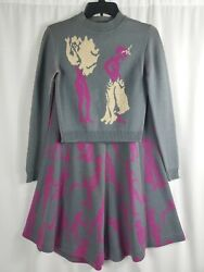 Alley Cat Betsey Johnson Vintage 70s Two Piece Knit Skirt Set Gray Lady Print