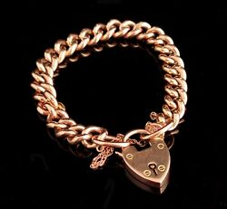 Antique Victorian 9ct Rose Gold Bracelet Solid Curb Link Padlock Clasp Heavy
