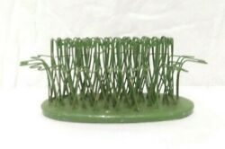 Vintage Blue Ribbon Oval Flower Holder - Hairpin 5 Green In Color