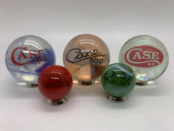Case Xx Knives Lot Of 5 Assorted Jumbo And Shooter Glass Marbles With Stands.