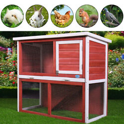 36quot; Wooden Chicken Coop Hen House Rabbit Wood Hutch Poultry Cage Removable Tray