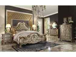 Acme Dresden California King Bed In Bone Pu And Gold Patina Finish 23154ck