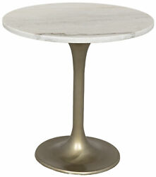 Noir Metal And Marble Accent Table With Antique Brass Finish Gtab514mb-20