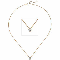 Necklace With Pendant 585 Gold Rose Gold 1 Diamond Brilliant 015 Ct