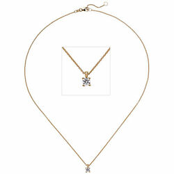 Necklace With Pendant 585 Gold Rose Gold 1 Diamond 025 Ct 17 11/16in