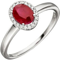 Womenand039s Ring 585 White Gold 20 Diamonds 1 Ruby Red Ruby Ring