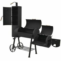 Bbq Offset Smoker With Bottom Shelf Black Xxl Charcoal Barbecue Grill Barbecue