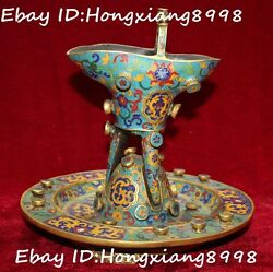 China Dynasty Cloisonne Enamel 24k Gold Gilt Goblet Oxhorn Wine Cup Cups Statue