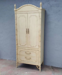 Thomasville Allegro Fretwork Chinese Chippendale Faux Bamboo Armoire Wardrobe