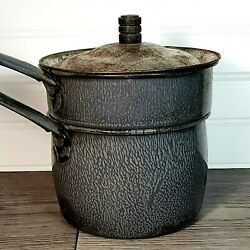 Antique Graniteware Agateware Double Boiler Early 1900and039s Old Primitive Rustic