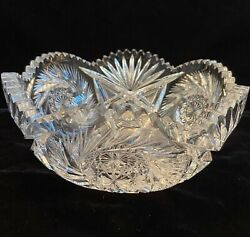 """Heavy Leaded Crystal Brilliant Cut Glass Round Serving Bowl 8"""" Diameter"""
