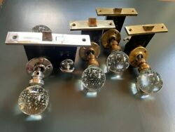 Set Of 4 Rare Antique Pairpoint Bubble Glass And Patina Brass Door Knobs W Locks