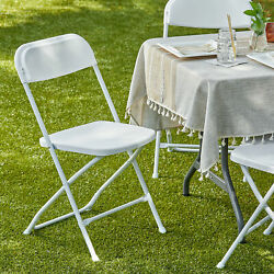50 Pack White Folding Banquet Hall Wedding Event Venue Indoor Outdoor Chairs