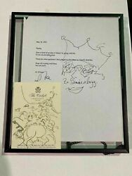 Original Drawing By Jack Nicholson W/ Letter Martin Scorseseand039s The Departed Prop