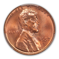 1957-d 1c Lincoln Cent - Type 1 Wheat Reverse Pcgs Ms67+rd