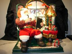 1996 Holiday Creations Motionette Santa Reading Arms And Head Moves Music Plays