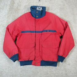 Vintage Woolrich Red Navy Blue Insulated Jacket Men's Size M Bomber 80'susa