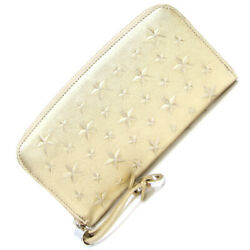 Jimmy Choo Round Zipper Wallet Star Embossed Filipa Gold Color Leather Long